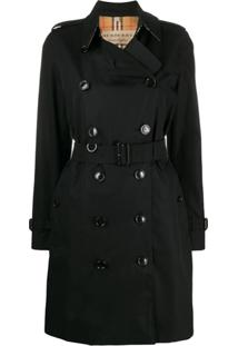 Burberry Trench Coat Acinturado - Preto