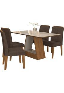 Sala De Jantar Alana 130Cm Com 4 Cadeiras Savana/Off White Cacau