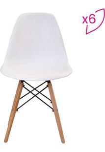 Conjunto De Cadeiras Eiffel Sem Braço- Branco & Marrom Crivatti