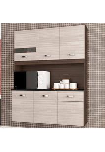 Cozinha Compacta Suspensa 6 Portas Lili - Poquema - Capuccino / Amendoa