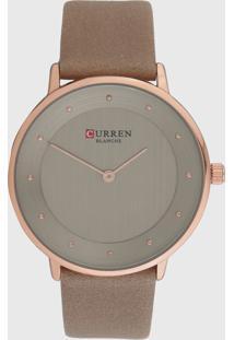 Relógio Curren C9033L Bege/Rosa - Kanui
