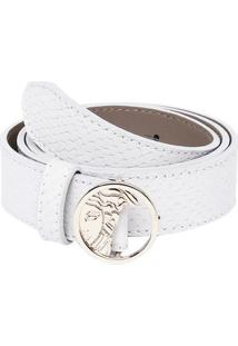 Cinto Em Couro Snake - Off White - 3X92Cmversace Collection