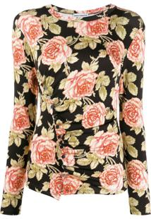 Paco Rabanne Floral Print Blouse - Marrom