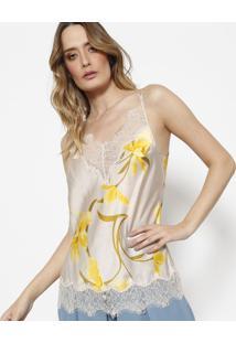 Regata Em Seda Iii Com Renda - Nude & Amarela - Le Lle Lis Blanc