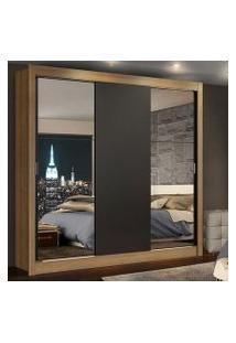 Guarda-Roupa Casal Madesa Lyon 3 Portas De Correr Com Espelhos 2 Gavetas Rustic/Preto Cor:Rustic/Preto