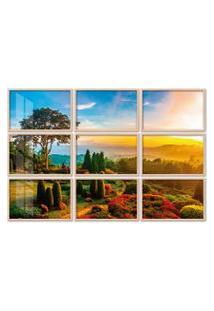 Quadro 120X180Cm Painel Jardim De Flores Pôr Do Sol Moldura Natural Com Vidro