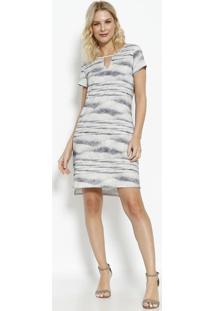 Vestido Tie-Dye Com Fenda & Recorte Vazado - Cinza Clarovip Reserva
