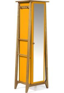 Sapateira Stoka Com Espelho Nogal E Amarelo