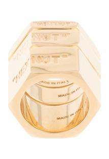 Off-White Anel Com Logo Gravado - Dourado