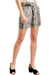 Shorts Mx Fashion Animal Print Kate Cinza