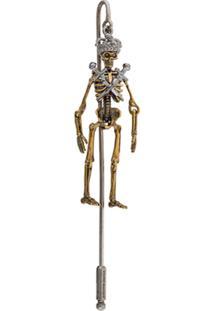 Alexander Mcqueen Broche 'Skeleton' - Metálico