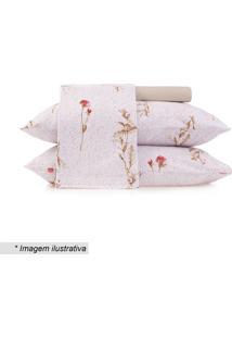 Jogo De Cama Floral Em Malha Queen Size- Bege Claro & Vealtenburg