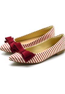 Sapatilha Bico Fino Com Laã§O Em Tecido Listrado Vermelho - Branco/Vermelho - Feminino - Dafiti