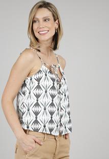 Regata Feminina Estampada Com Botões E Amarração Alças Finas Decote V Off White