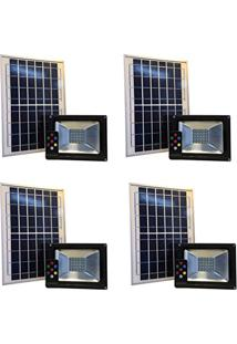 Refletor Solar Led Holofote 10W Branco Frio Kit 4