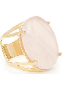 Anel Banhado A Ouro Oval Quartzo - Feminino-Rosa