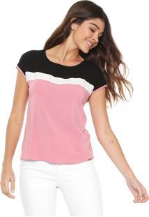 Blusa Cativa Color Block Rosa/Preto