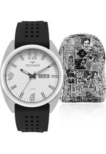 66d17cd9252 Eclock. Relógio Masculino Technos Clock Aço Analógico Kit ...
