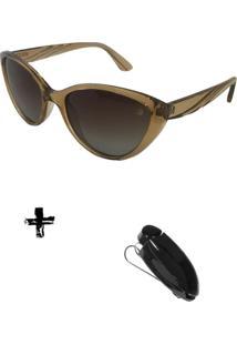Oculos De Sol Feminino Volpz Com Suporte Veicular - Kanui