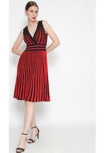 Vestido Listrado Plissado- Vermelho & Preto- Le Fixle Fix