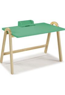 Mesa Escrivaninha Com Porta Objetos Ringo 1031 Natural/Verde Anis - Maxima