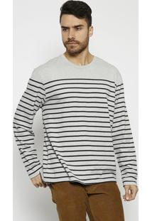 Camiseta Mescla Listrada- Cinza & Pretalevis