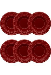 Conjunto 6 Pratos Fundos Oxford Serena Veludo Cerâmica 23Cm Bordô