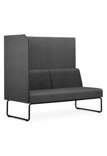Sofa Privativo Pix Com Lateral Direita Aberta Assento Mescla Cinza Escuro Base Aco Preto - 54979 Cinza