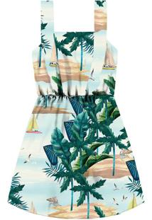 Vestido Com Alças Tecido Estampa Waikiki - Lez A Lez