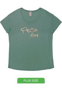 Blusa Plus Size Com Bordado Verde