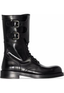 Dolce & Gabbana Ankle Boot De Couro Com Acabamento Polido - Preto