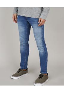 Calça Jeans Masculina Slim Com Puídos Azul Médio
