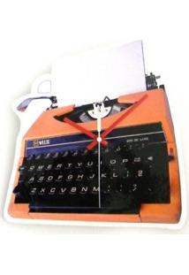 Relógio De Parede Maquina De Escrever Plástico 29X28 Cm - Tricae