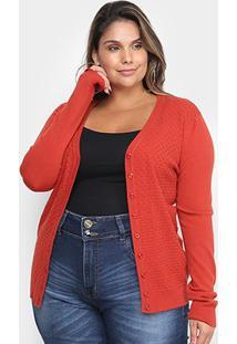 Cardigan City Lady Tricot Plus Size Feminino - Feminino-Marrom