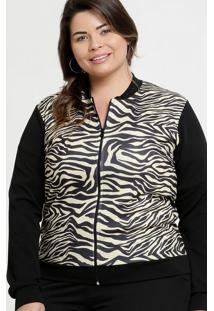 Jaqueta Feminina Bomber Animal Print Plus Size
