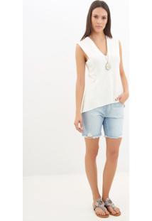 Bermuda Le Lis Blanc Ana Curta Jeans Azul Feminina