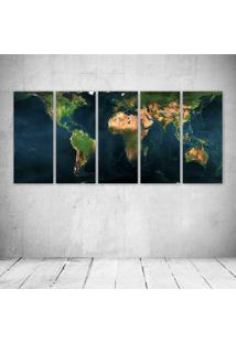 Quadro Decorativo - Mapa Mundi - Composto De 5 Quadros
