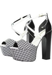 Sandália Salto 15 Week Shoes Xadrez Preto E Branco