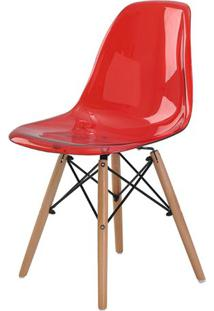 Cadeira Eames Eiffel Policarbonato Vermelho Translucido Base Madeira - 44194 - Sun House