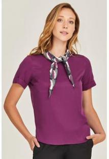 Blusa Lenço Plissado Purple Feminina - Feminino-Roxo