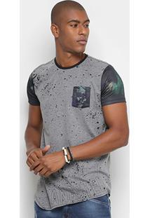 Camiseta Gangster Respingos Bolso Tropical Masculina - Masculino