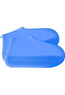 Capa Chuva Thata Esportes Para Tênis Sapato Pé Moto Bicicleta Impermeável Silicone Lavável Azul