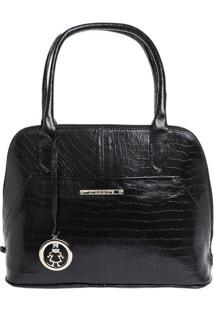 Bolsa De Mão Em Couro Com Bag Charm - Preta - 31X24Xdi Marlys