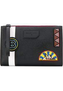 Bally Bolsa Clutch Com Patch De Logo E Listra - Preto