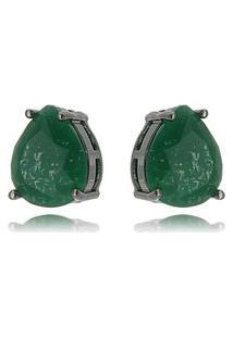 Brinco Soloyou Fusion Verde Esmeralda Gota 10 X 12 Mm Semijoia Fina Em Ródio Negro