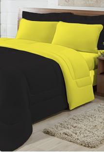 Edredom Solteiro Casa Modelo Dupla Face Malha 100% Algodão 1 Peça - Preto/Amarelo