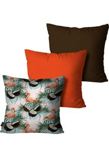 Kit Com 3 Capas Para Almofadas Pump Up Decorativas Laranja Flamingo Summer 45X45Cm