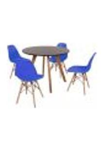 Mesa Inês 100Cm Preta + 4 Cadeiras Eames Eiffel - Azul