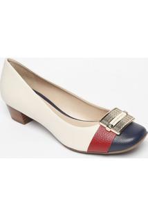 Sapato Tradicional Em Couro Com Aviamento- Branco & Azuljorge Bischoff