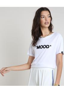 "Blusa Feminina ""Mood"" Manga Curta Decote Redondo Branca"